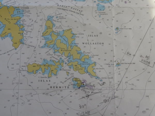 Bridge chart showing Cape Horn and other associated islands.