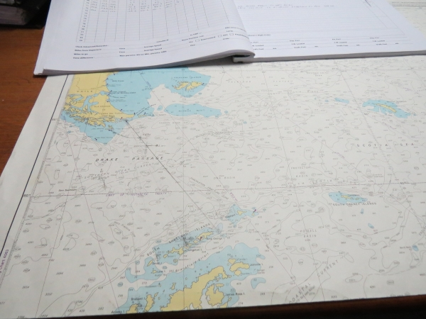 A chart showing our heading across the Drake Passage. Photo: Anne Jefferson, 2013.