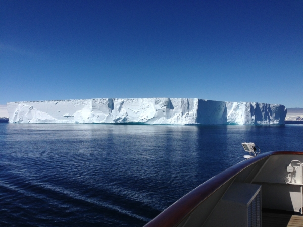 Cruising around a tabular iceberg in Antarctic Sound.