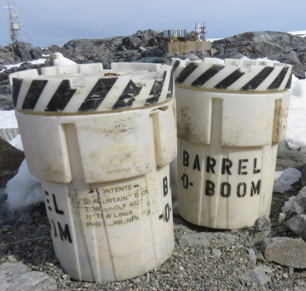 The barrels-o-boom at Palmer Station caused quite a few smiles. Inside, they contain emergency spill response materials.