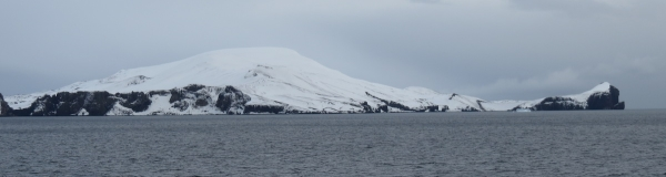 Even from outside the caldera, Deception Island's volcanic heritage is evident. Photo by A. Jefferson.