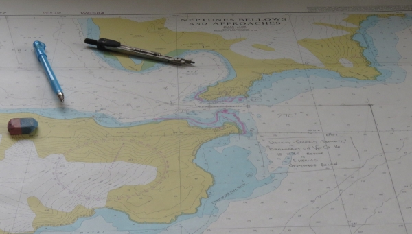 Navigation chart for Deception Island. Photo by A. Jefferson.