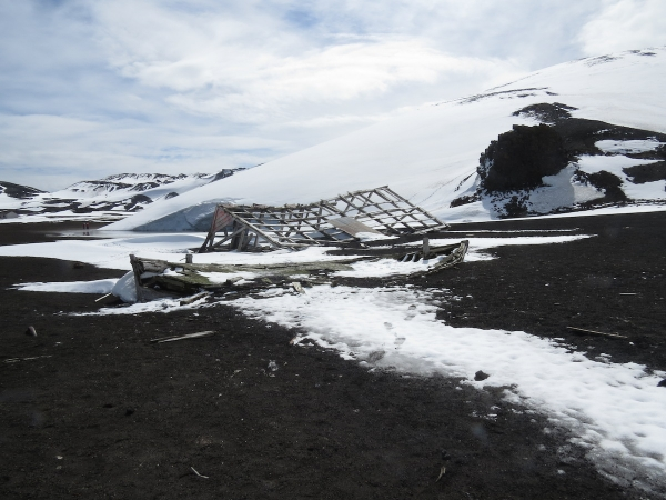 Remains of a boat and building from the whaling station days. Photo by A. Jefferson.