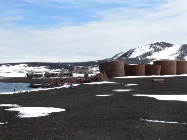 Oil tanks and remains of the whaling station and British station at Whaler's Bay. Photo by A, Jefferson.
