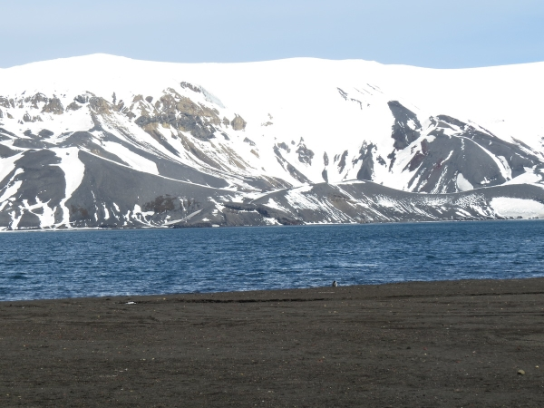 Looking across Port Foster from Whalers Bay to the other caldera wall. Photo by A. Jefferson.