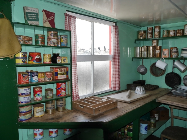 The restored kitchen in the Port Lockroy hut.