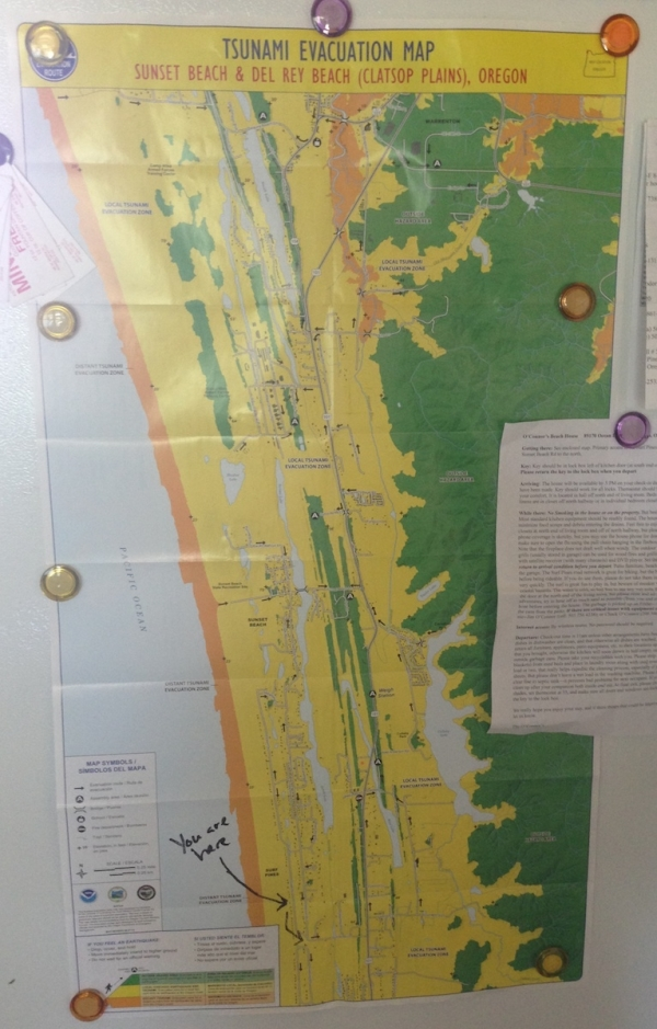 Tsunami Evacuation Map for the area I was staying in.