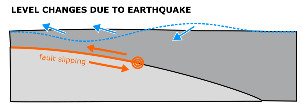 Deformation of the land surface associated with a large earthquake on a shallow thrust fault. Release of accumulated strain causes uplift above the shallow part of the fault and subsidence further down-dip.