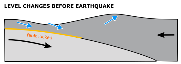 Deformation of the land surface above a frictionally locked, shallowly dipping thrust fault. Subsidence above the shallow part of the fault is balanced out by uplift down-dip of the locked zone.