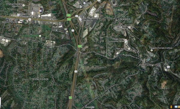 Satellite view of the landscape upstream of Main Street Ellicott City, via Google Maps.