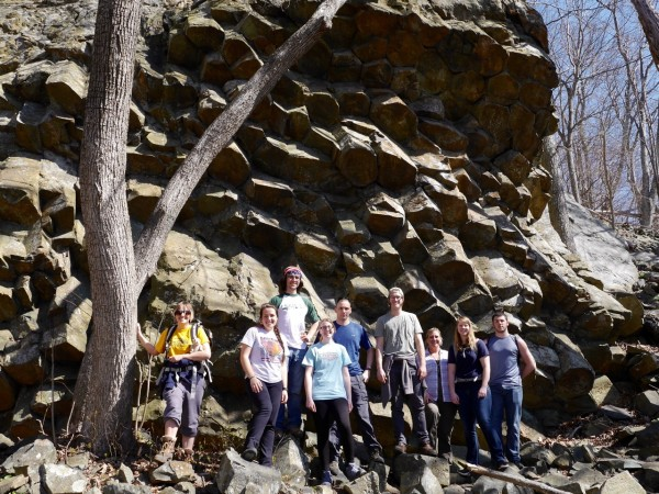 Spectacular columnar basalts (and impressed students), Shenandoah National Park