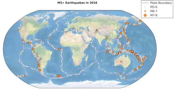 Global Map of 2016 earthquakes, according to the USGS database.