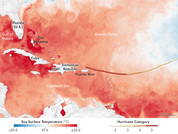 NASA Earth Observatory image of Irma's path (as of September 6) and sea surface temperatures,