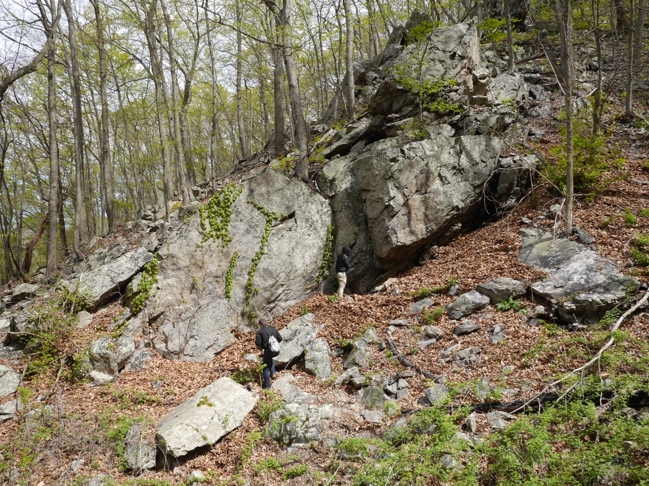 Students at a prominent cliff-like outcrop of the Oriskany Sandstone, West Virginia