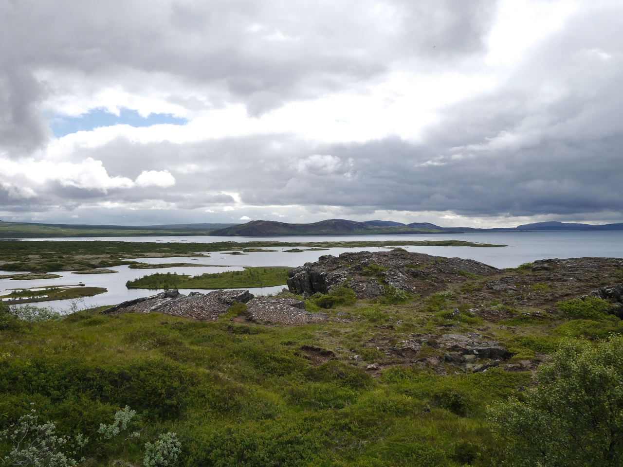 view over looking over the edge of a rift fault at Pingvellir.