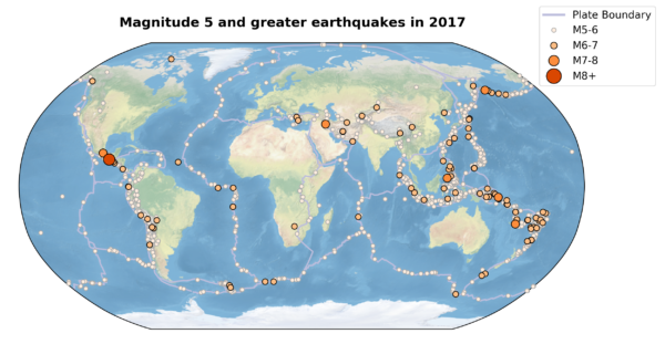 Global map with earthquake locations marked as circles, scaled according to their size.