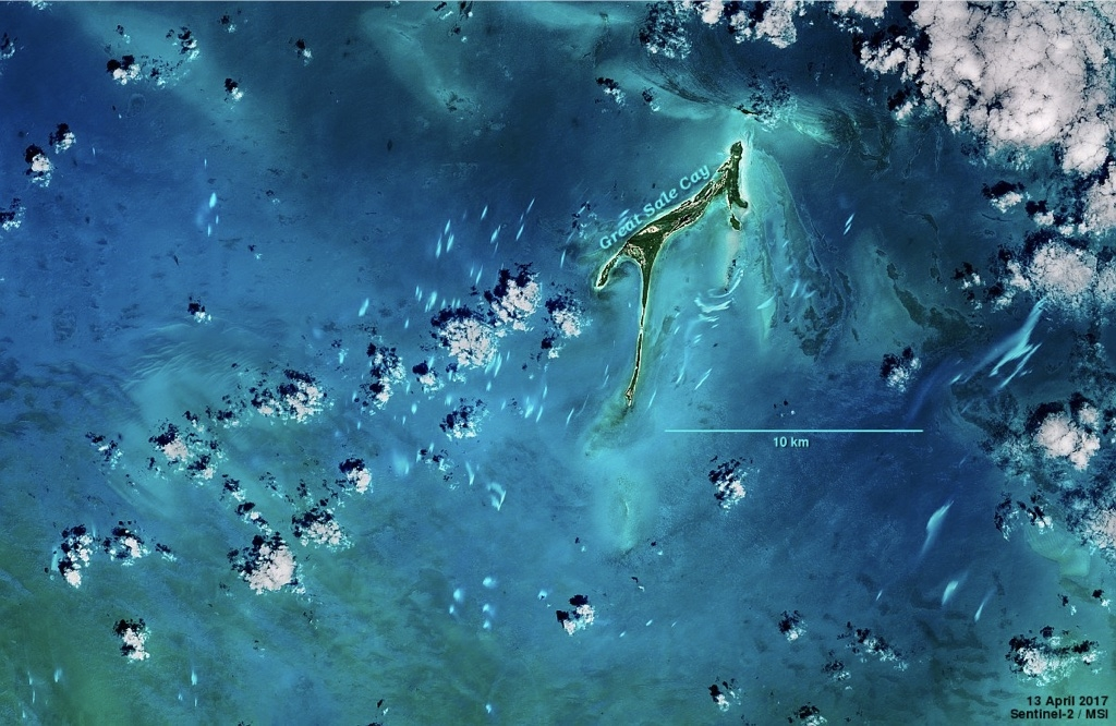 Satellite view of a cay in the Northern Bahamas, with small patches of whitings colouring the seas around it.