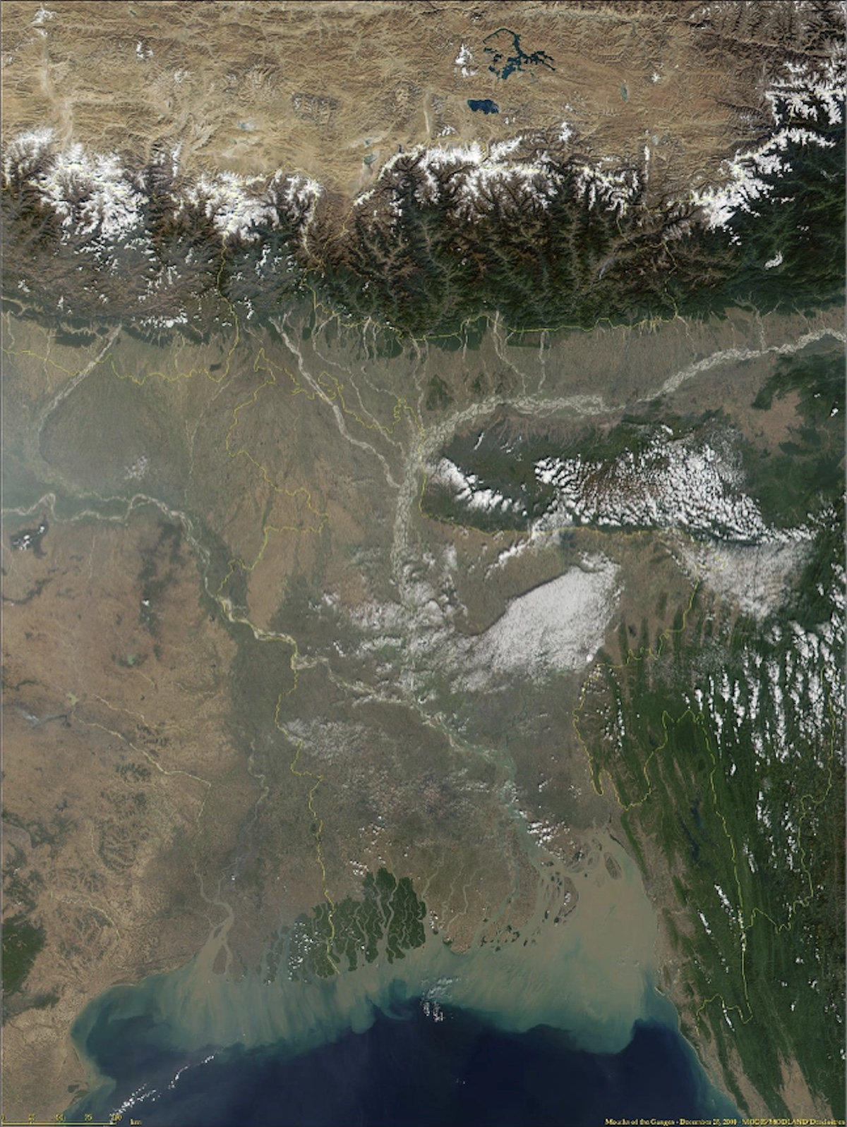 Satellite image of the Ganges and Brahmaputra rivers, draining south from the Himalayas into the Bay of Bengal.