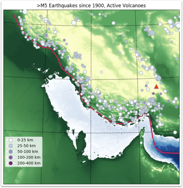 Map of Magnitude 5 earthquakes in the Persian Gulf between 1900 and 2017.