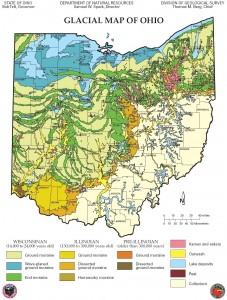 Glacial geology map of Ohio