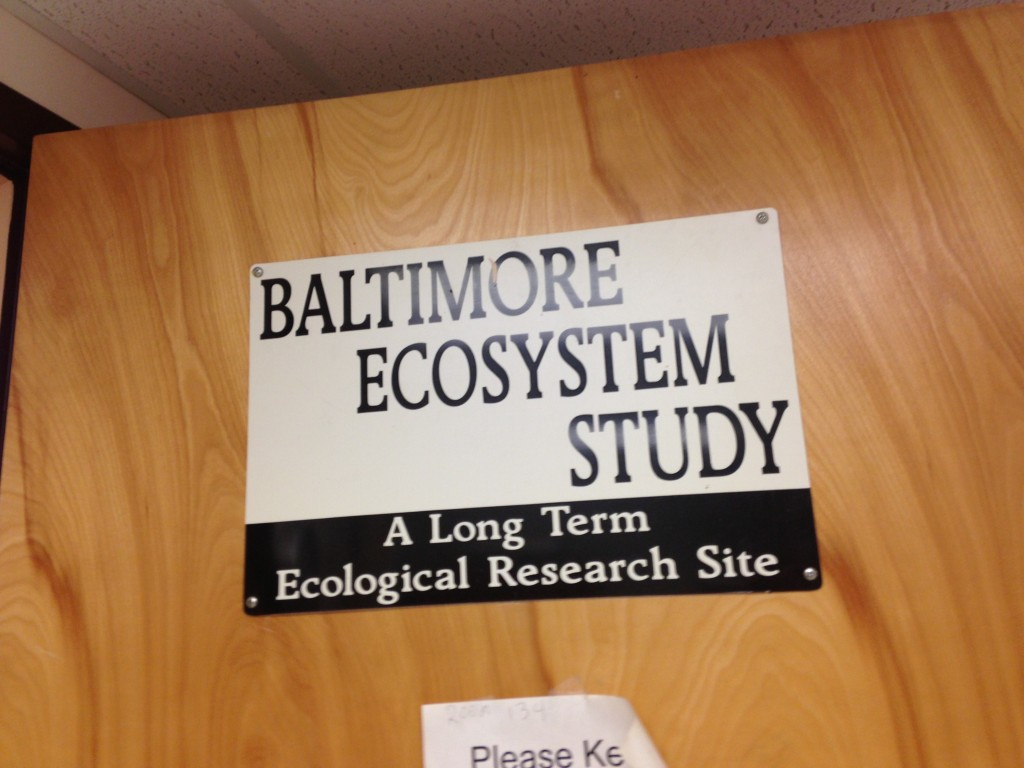 "Sign on door reads ""Baltimore Ecosystem Study"""