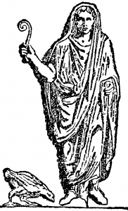 Drawing of robed figure holding curved stick.