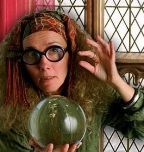 Prof Trelawney and crystal ball from Harry Potter