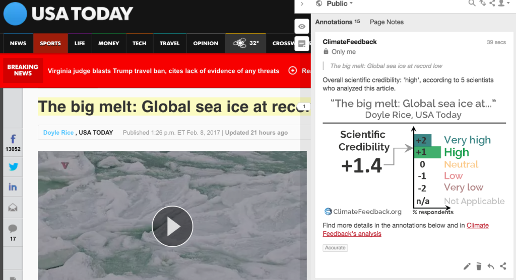 "The most recent analysis on the site is of an article called ""The big melt: global sea ice at a record low"", published by USA Today."
