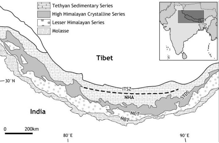 tectonic map of Himalaya from Harris (2007)