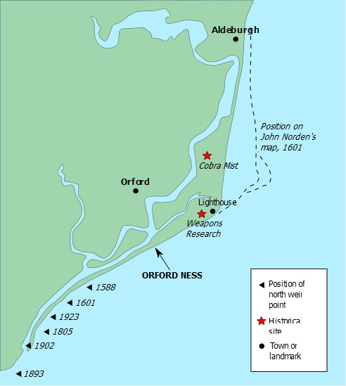 Map of Orford Ness, via Wikipedia