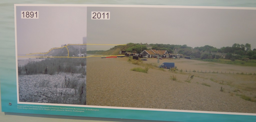 photo-mosaic showing erosion at Dunwich, from Southwold museum