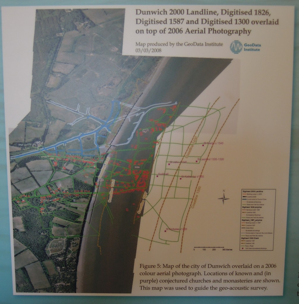Map of Dunwich showing street-map of lost town