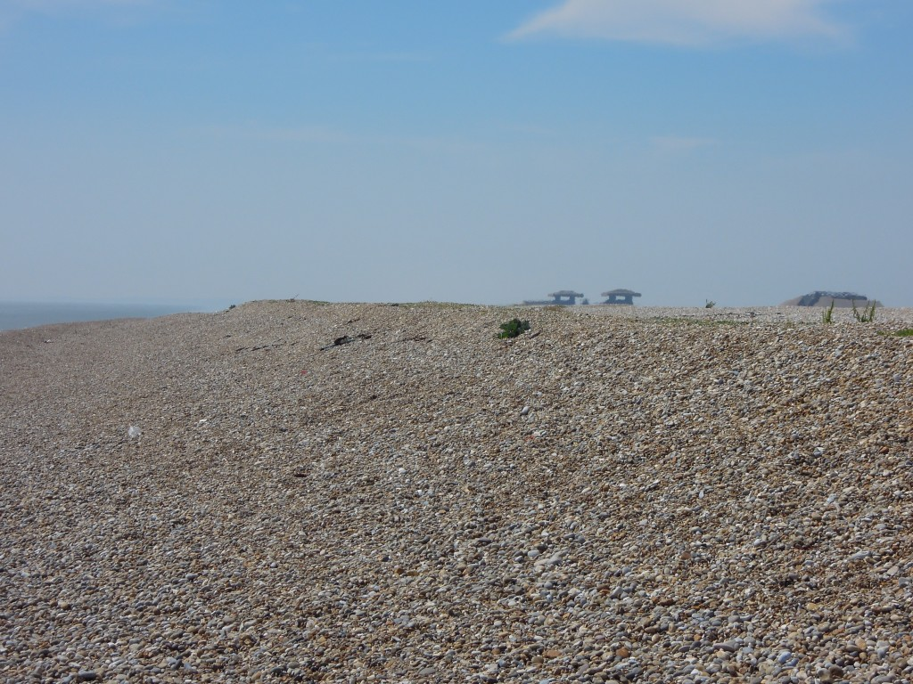 Orford Ness gravel ridge with pagodas