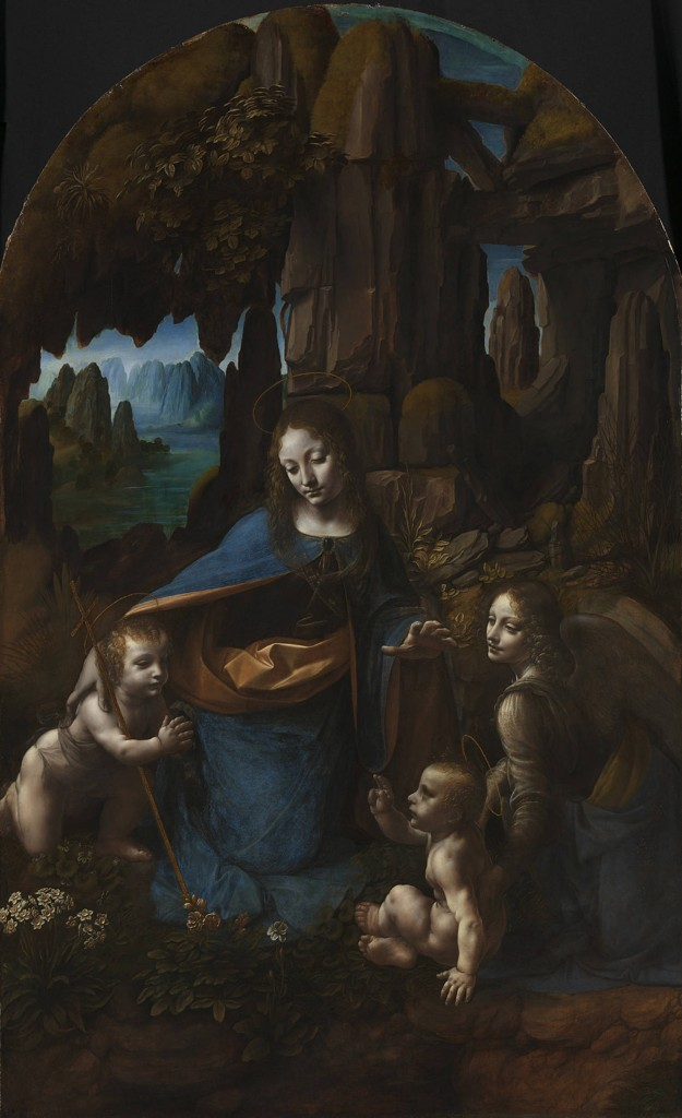 Leonardo da Vinci's Virgin of the Rocks. Vertically bedded limestone, both foreground and background