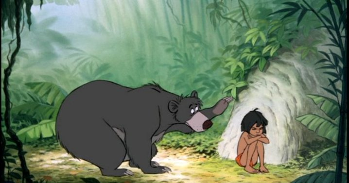 Jungle Book Baloo looks at Mowgli