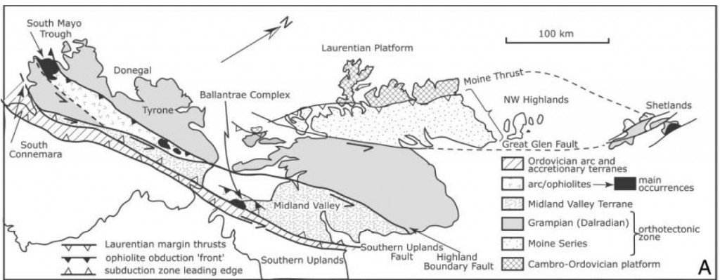Terrane map of the British Isles. Figure 1a from Dewey 2005
