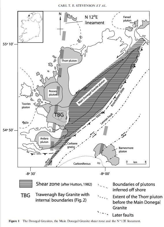 Map of Donegal's granites. Taken from Stevenson et al. (2007)