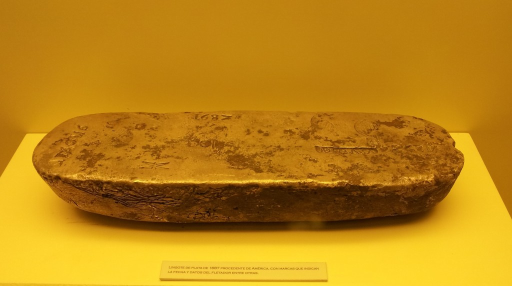 Ingot of South American silver as brought over by Spanish treasure ships. Cadiz Museum.