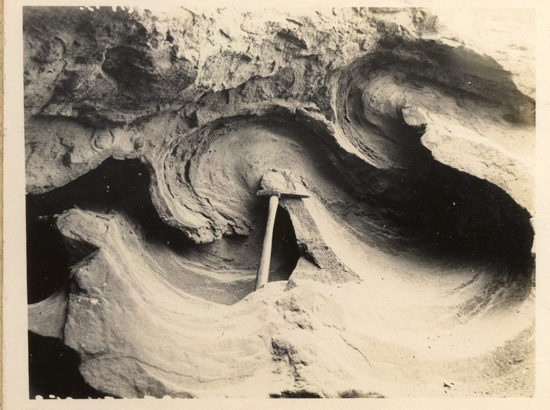 Isoclinal folding in glacial sand and clay. Photo from 1921 courtesy of British Geological Survey. P249721 http://geoscenic.bgs.ac.uk/asset-bank/action/viewAsset?id=78063&index=55&total=56&view=viewSearchItem