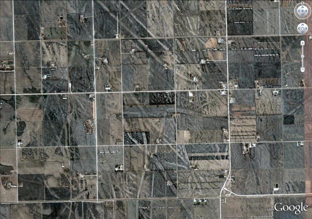 Glacial keel-marks from Canada. Google Earth image.