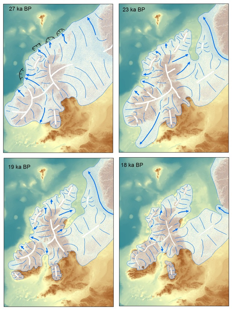 Maps showing the evolution of the British & Irish icesheet over time. Image from Chris Clark.