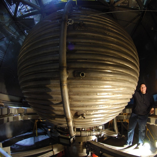 A giant sphere full of 15 tons of liquid sodium, used to simulate the earth's core. Source.