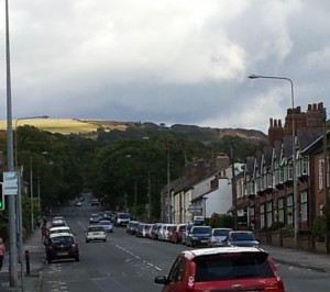 The Buxton road climbs up out of Macclesfield. Taken near Toll Bar Avenue.