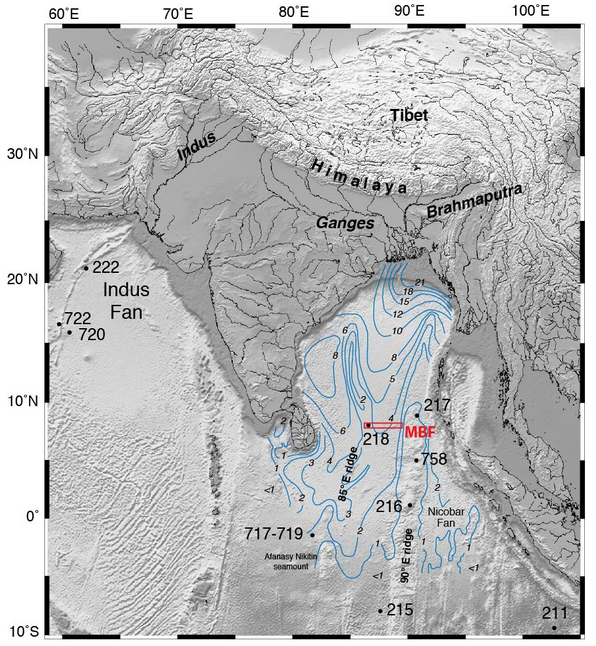 Blue lines are thickness of sediment in the Bengal Fan. Image Source.