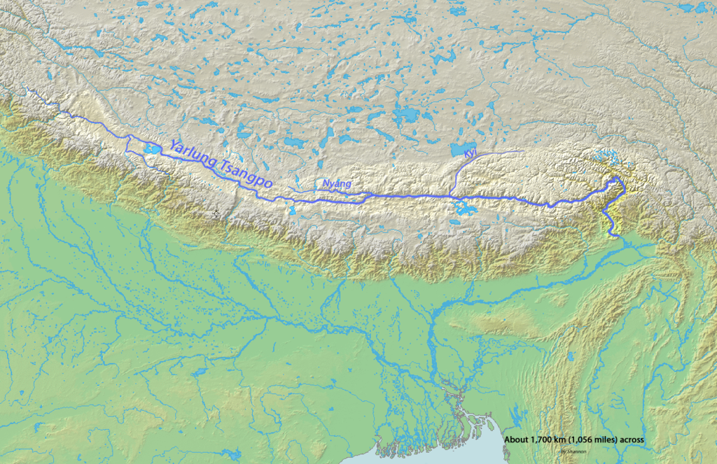 Map of the Yarlung-Tsangpo-Bhramaputra river. Image source.