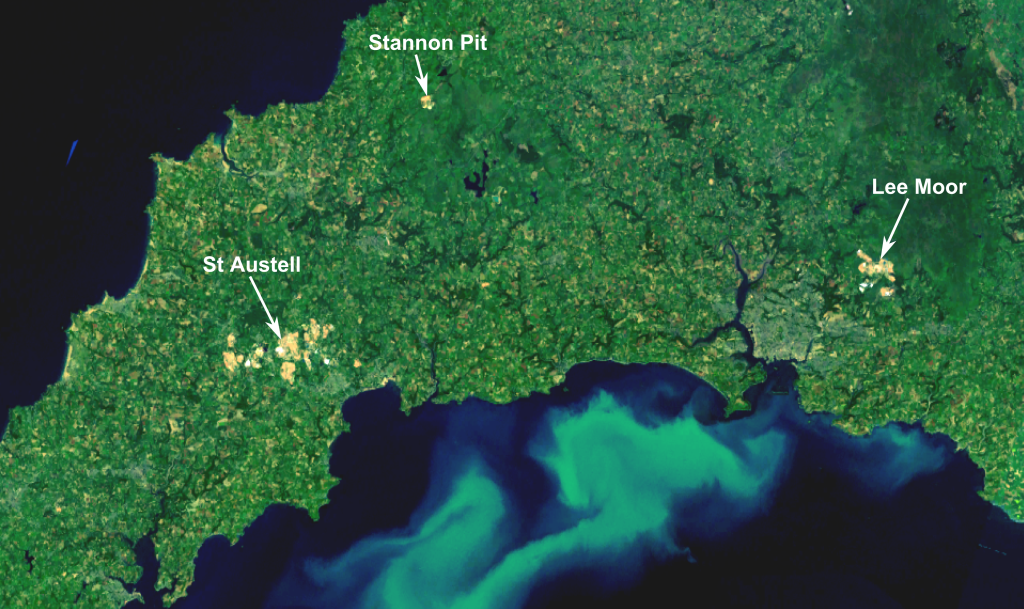 China Clay pits visible from Space in Cornwall. Image from Wikipedia