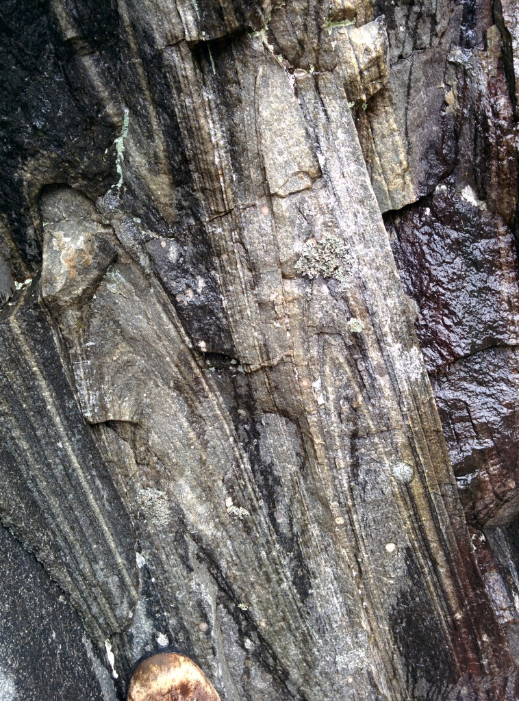 Intense folding in Moine sediments, near the Sgurr Beag thrust.