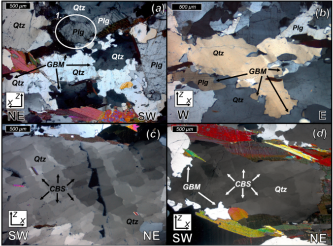 A portion of figure 6, showing different microscope images of rock samples, with different features highlighted.