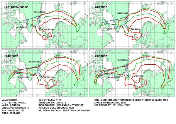 Met Office predictions for ash dispersal