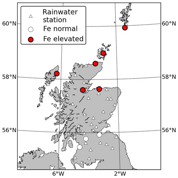 Locations of rainwater chemistry samples.  None detected fluorine or acidic rain.  Contamination by iron (Fe) was tested at sites marked with circles, and high concentrations were found in locations marked red.